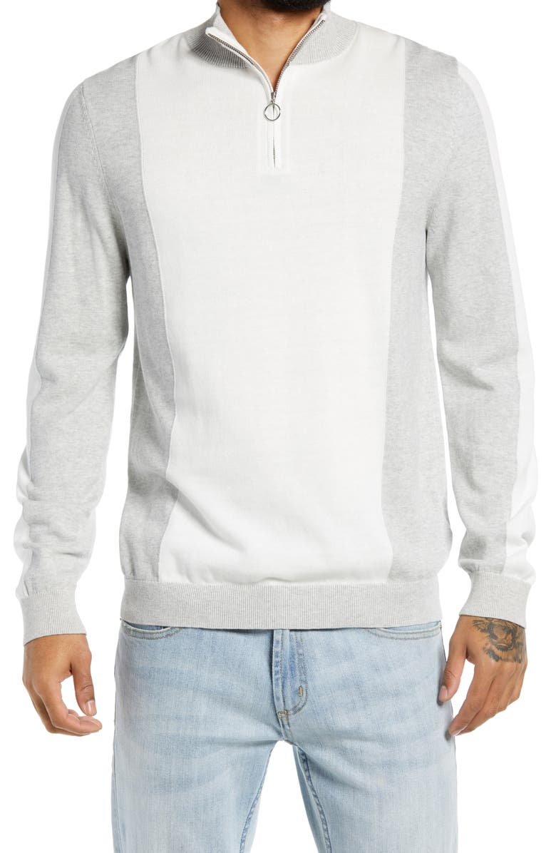 TOPMAN Quarter Zip Cotton Sweater, Main, color, 100