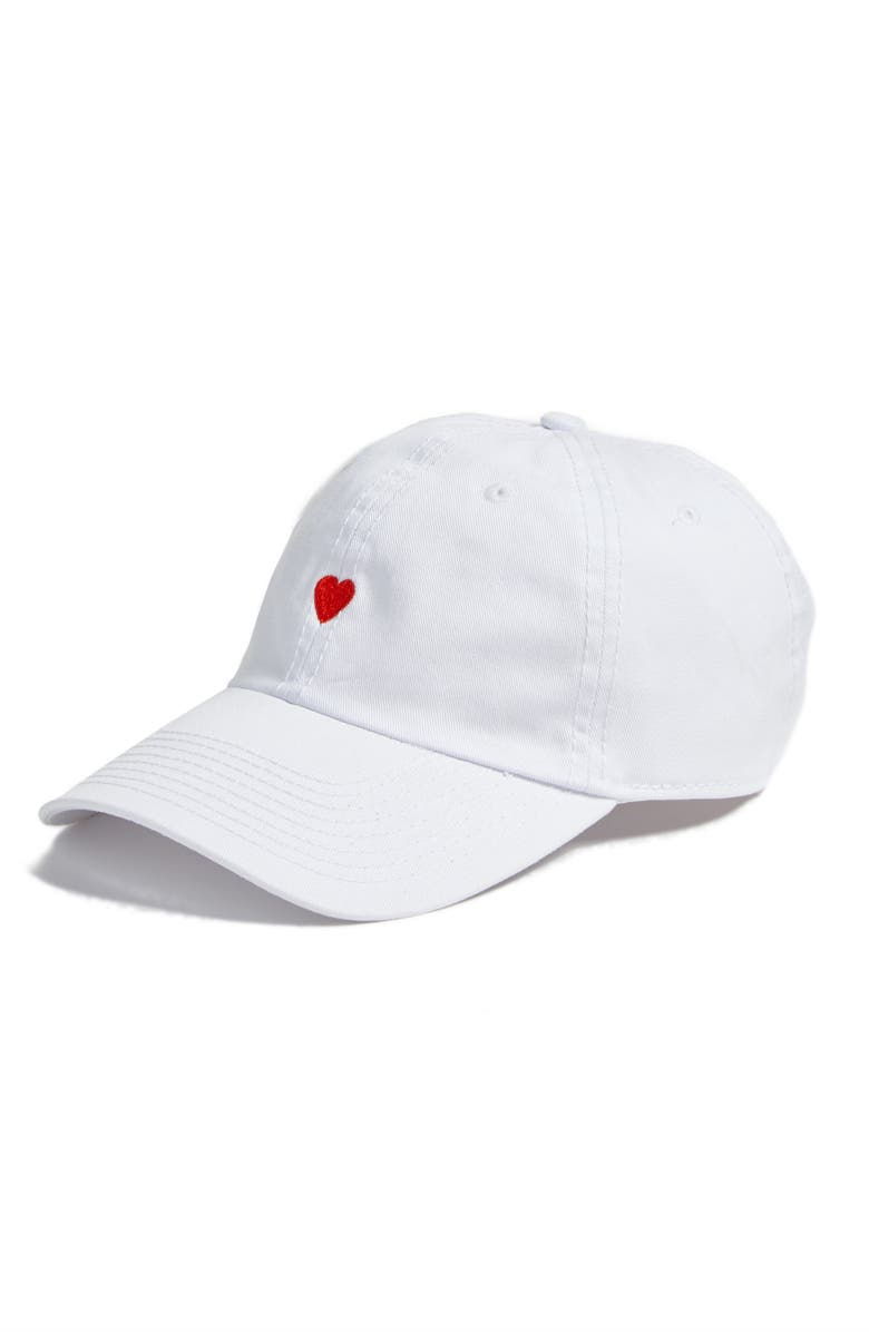 BODY RAGS CLOTHING CO. Micro Heart Baseball Cap, Main, color, 100