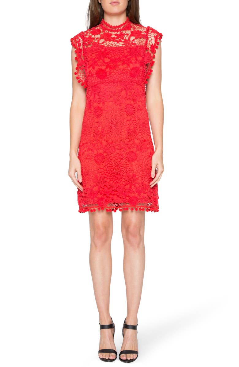 ZZDNU WILLOW & CLAY Willow & Clay Lace Shift Dress, Main, color, RED
