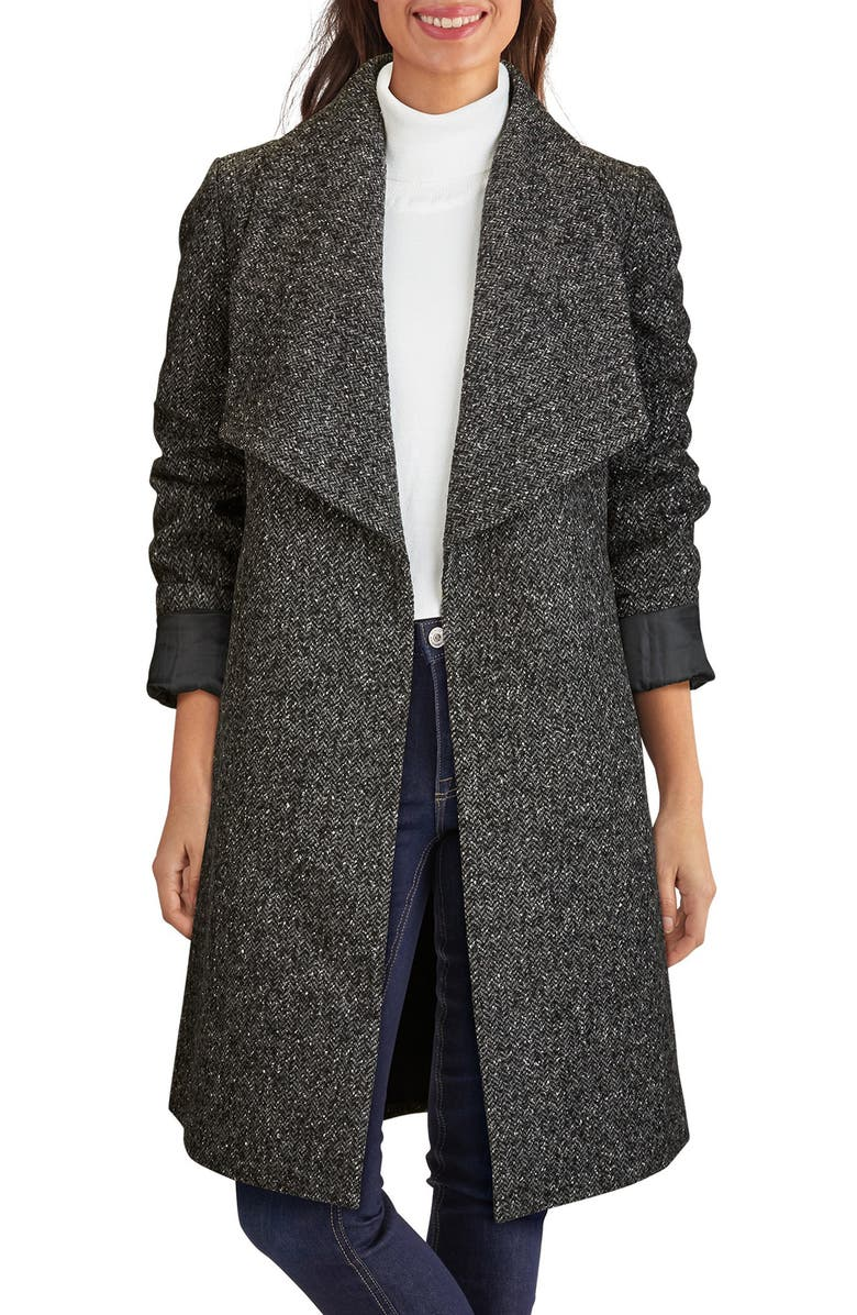 COLE HAAN SIGNATURE Wool Blend Tweed Wrap Coat, Main, color, 029