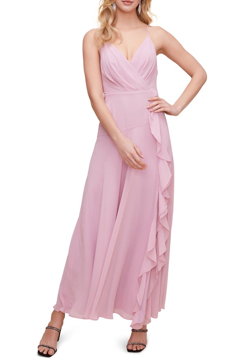 ASTR THE LABEL Floral Ruffle Detail Maxi Dress, Main, color, LILAC