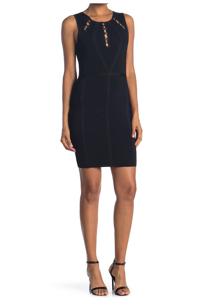 GUESS Bandage Dress With Upper Detailing, Main, color, BLACK