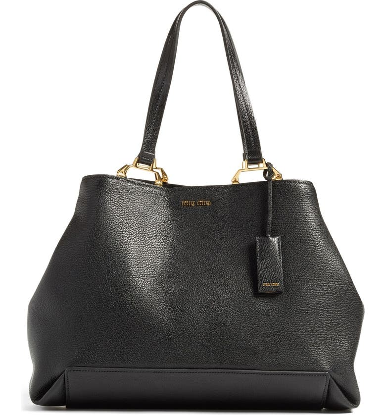 MIU MIU 'Madras' Goatskin Leather Tote, Main, color, 001