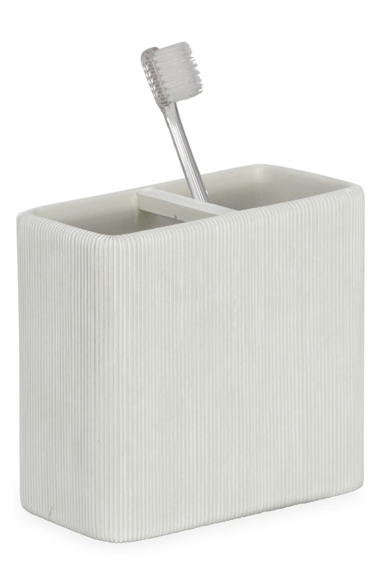 DKNY Fine Lines Ceramic Toothbrush Holder, Main, color, 100