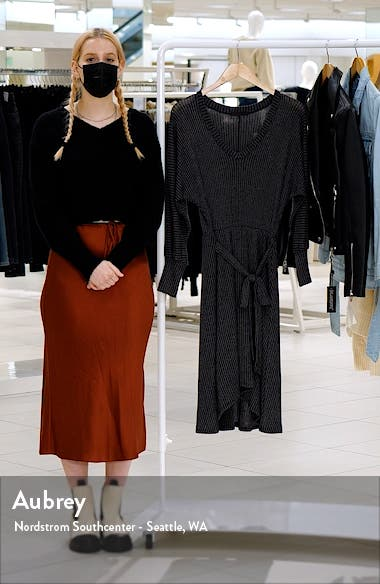 Ribbed Tie Waist High-Low Sweater Dress, sales video thumbnail