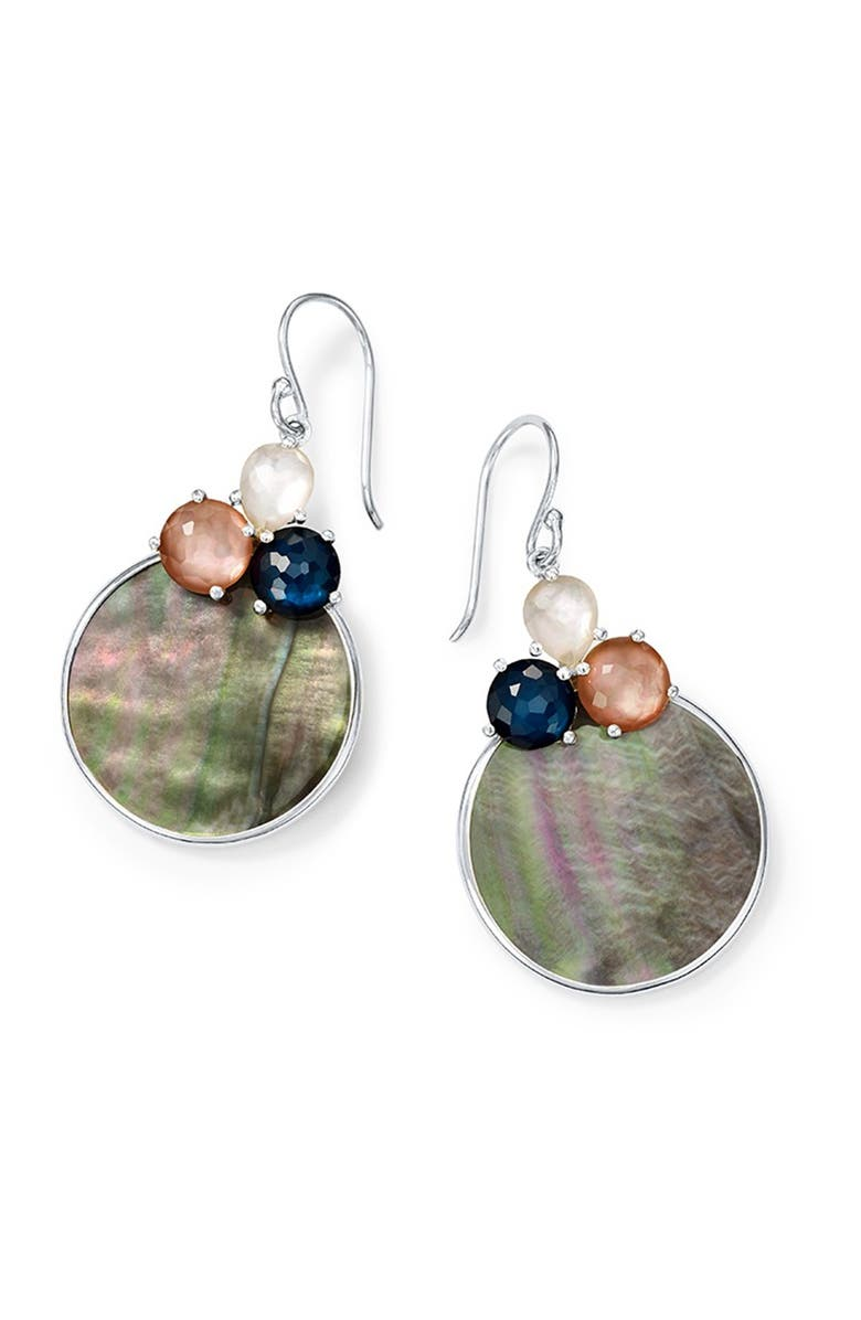 IPPOLITA Sterling Silver Wonderland Overlapping Shell 3-Stone Earrings, Main, color, SILVER