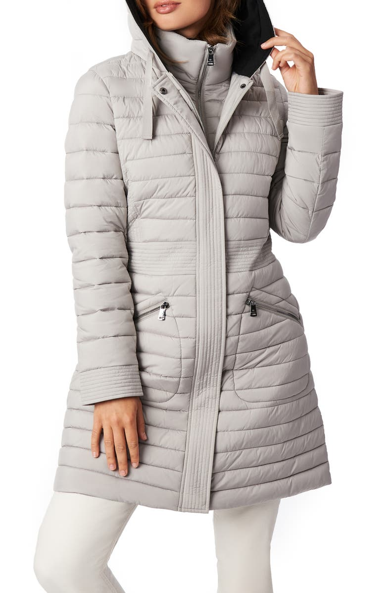 BERNARDO Recycled Micro Touch Water Resistant Packable Hooded Jacket, Main, color, OPAL GREY