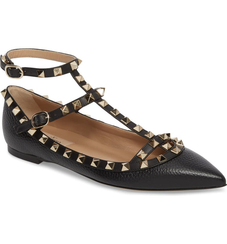 VALENTINO GARAVANI Rockstud Ankle Strap Pointy Toe Flat, Main, color, 001