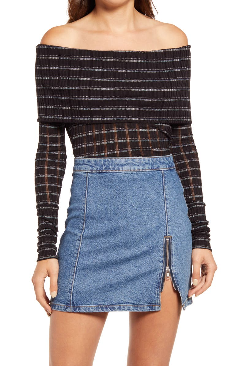 FREE PEOPLE Snowbunny Girlfriend Off the Shoulder Top, Main, color, 001