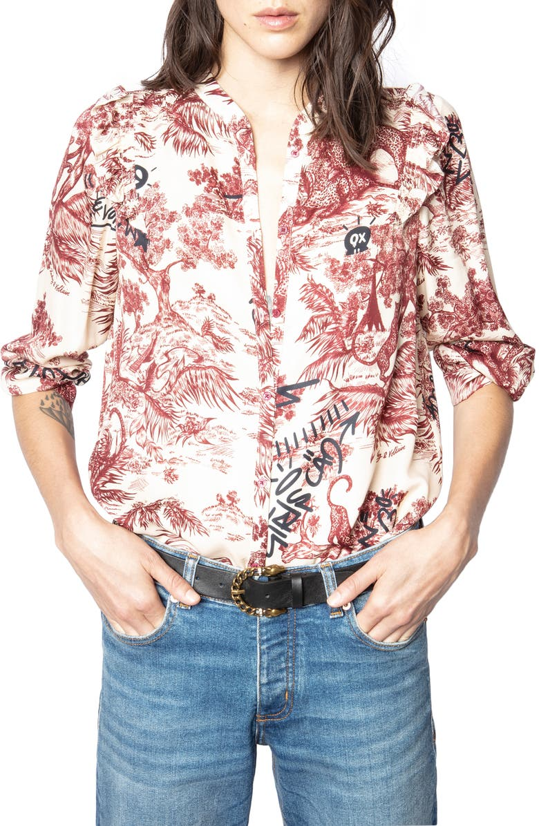 ZADIG & VOLTAIRE Tygg Juoy Satin Button-Up Shirt, Main, color, 900
