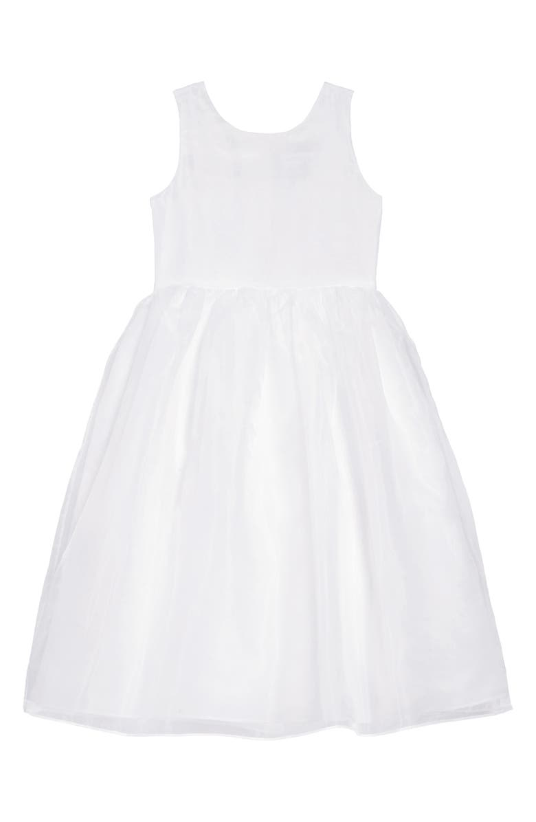 US ANGELS Sleeveless Organza Dress, Main, color, WHITE