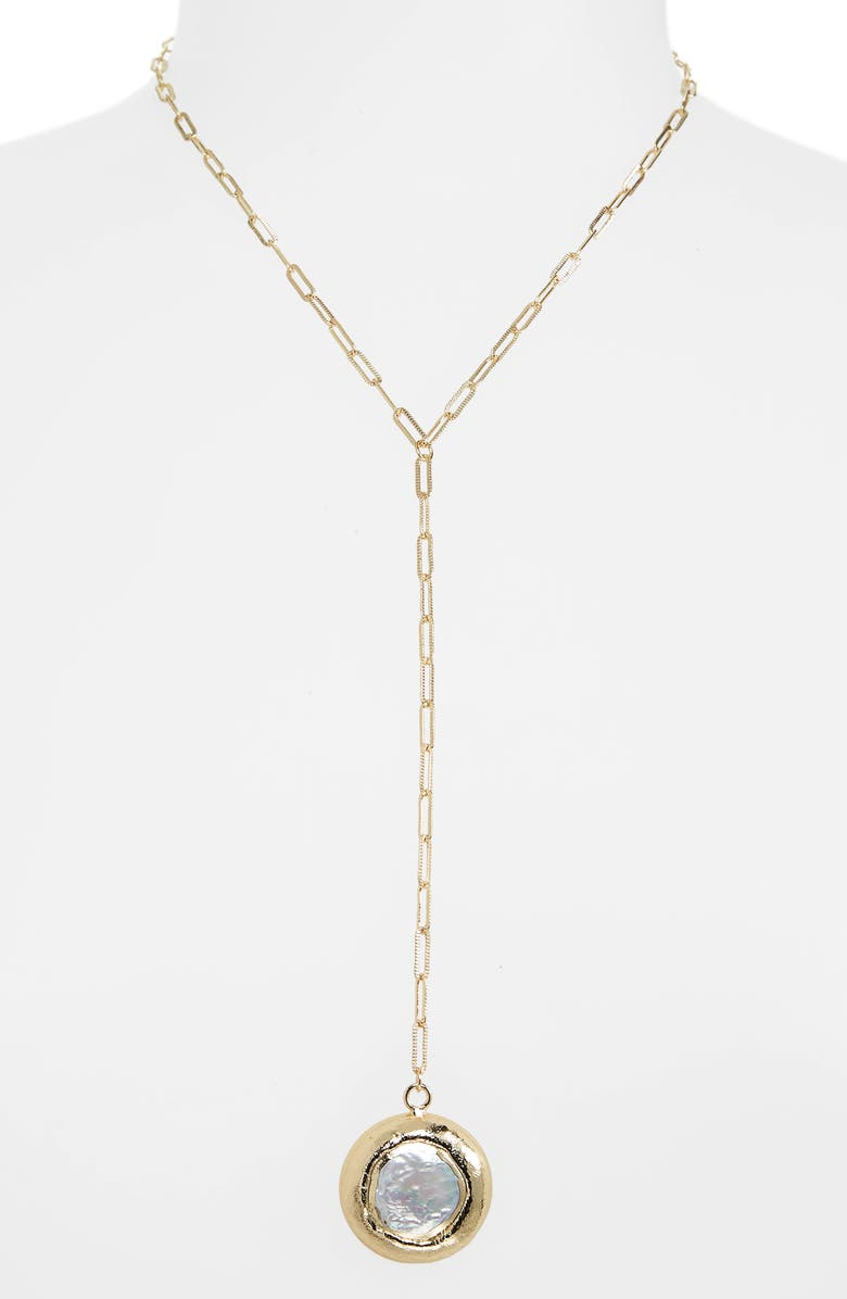 NORDSTROM Stone Pendant Y-Necklace, Main, color, WHITE- GOLD