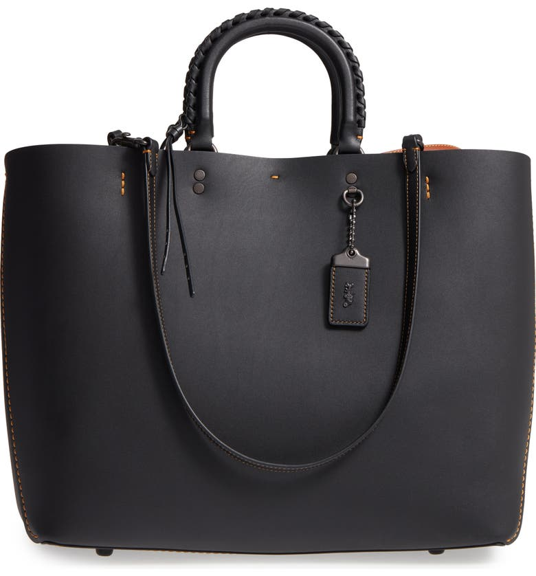 COACH 1941 Rogue Embellished Handle Leather Tote, Main, color, Black
