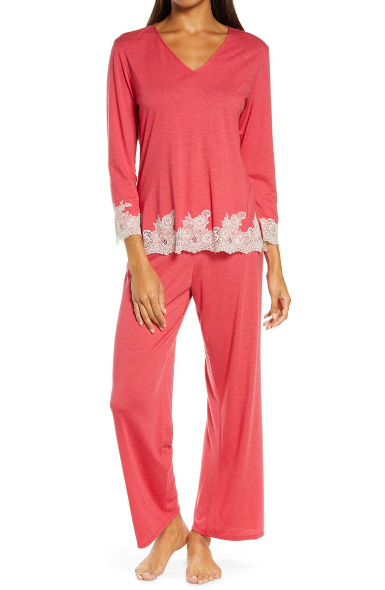NATORI Luxe Shangri-La Pajamas, Main, color, HT. BROCADE RED