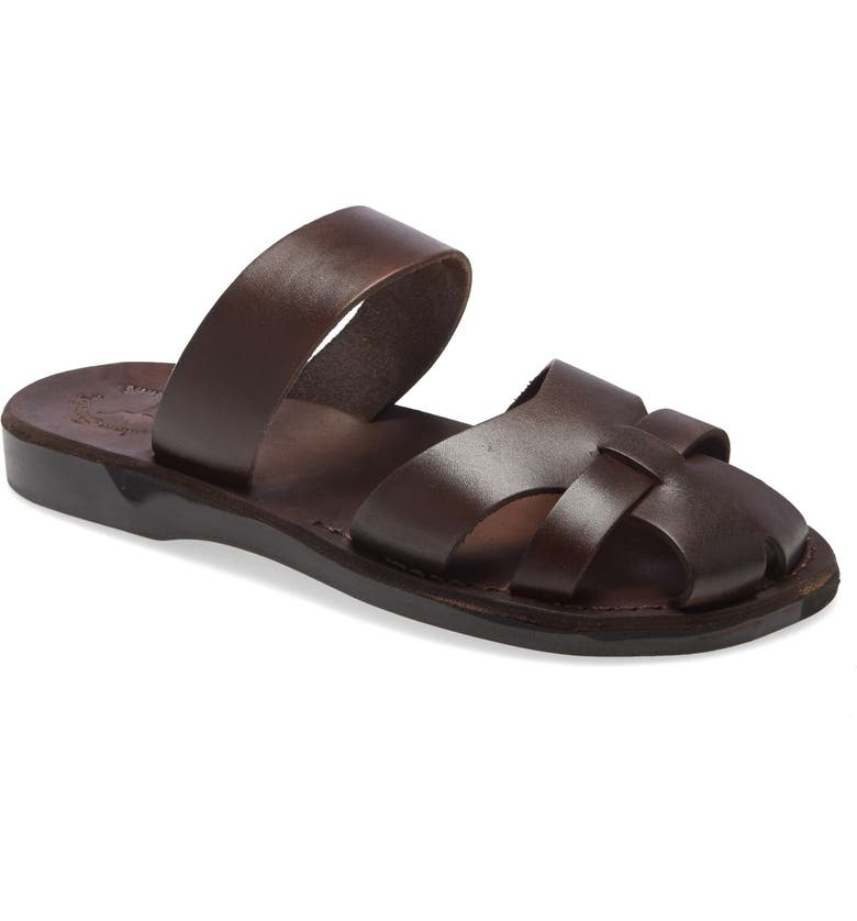 JERUSALEM SANDALS Adino Slide Sandal, Main, color, BROWN LEATHER