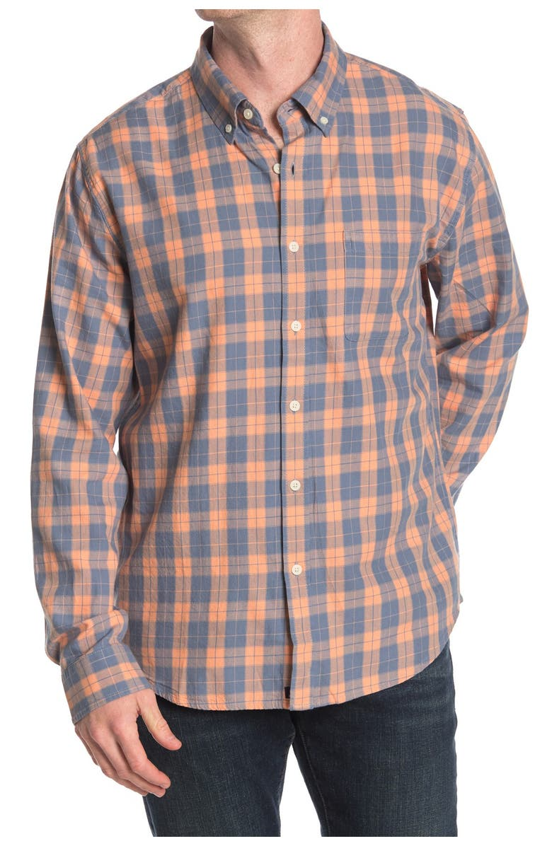 THE NORMAL BRAND Midcoast Plaid Regular Fit Long Sleeve Sport Shirt, Main, color, CORAL