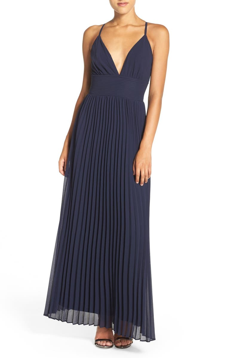 LULUS Plunging V-Neck Pleat Georgette Gown, Main, color, NAVY