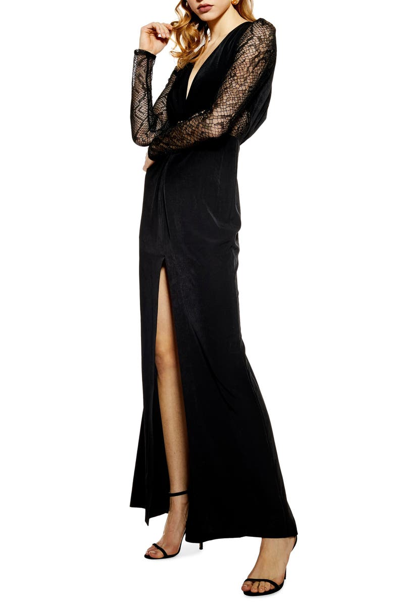 TOPSHOP Long Lace Sleeve Formal Maxi Dress, Main, color, 001