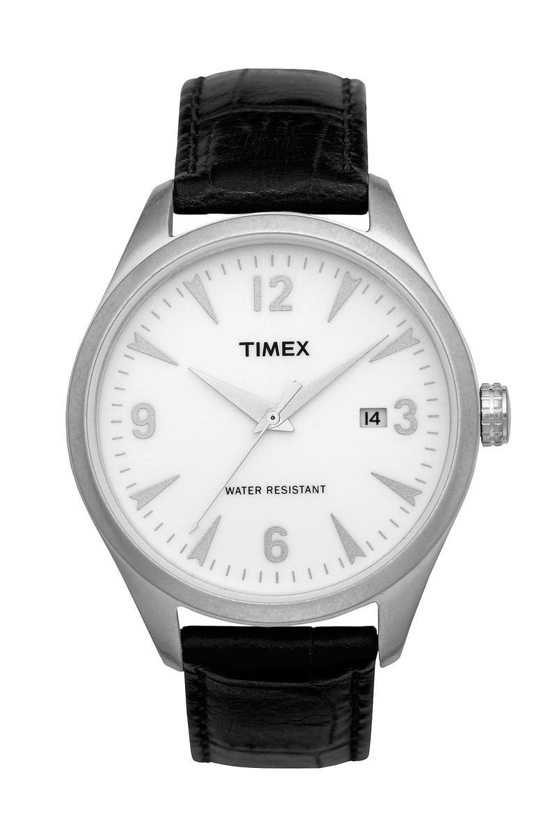 TIMEX<SUP>®</SUP> '50s Vintage' Leather Strap Watch, Main, color, 001