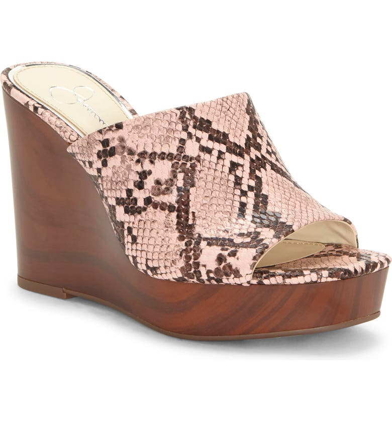 JESSICA SIMPSON Shantelle Wedge Slide Sandal, Main, color, HAILEY PINK FAUX LEATHER