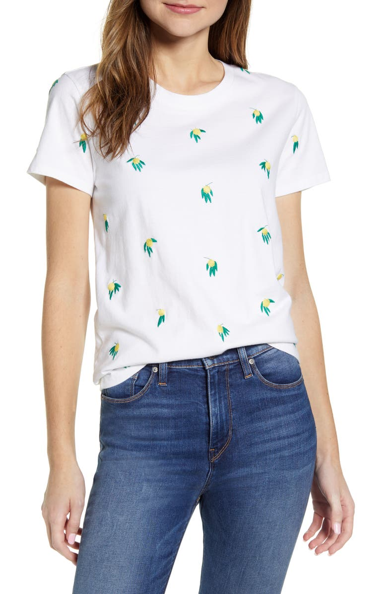 LUCKY BRAND Embroidered Cotton T-Shirt, Main, color, LUCKY WHITE