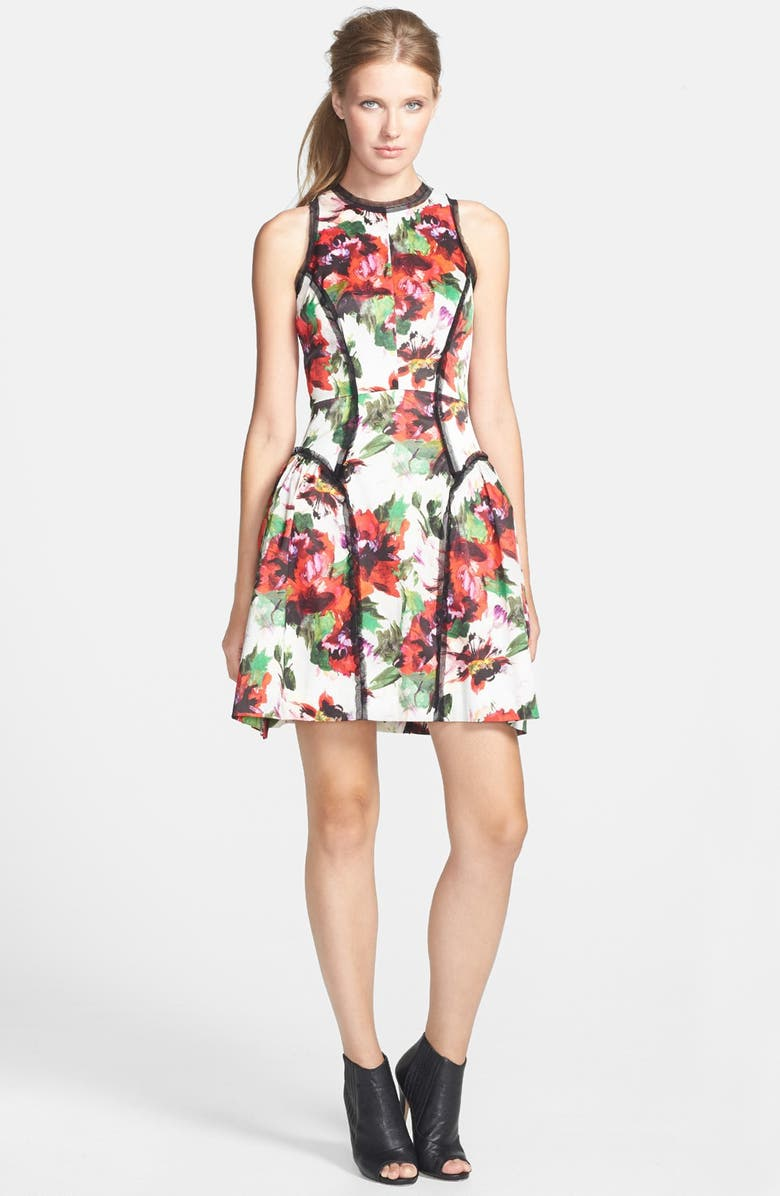 MILLY Paneled Silk Party Dress, Main, color, MULTI