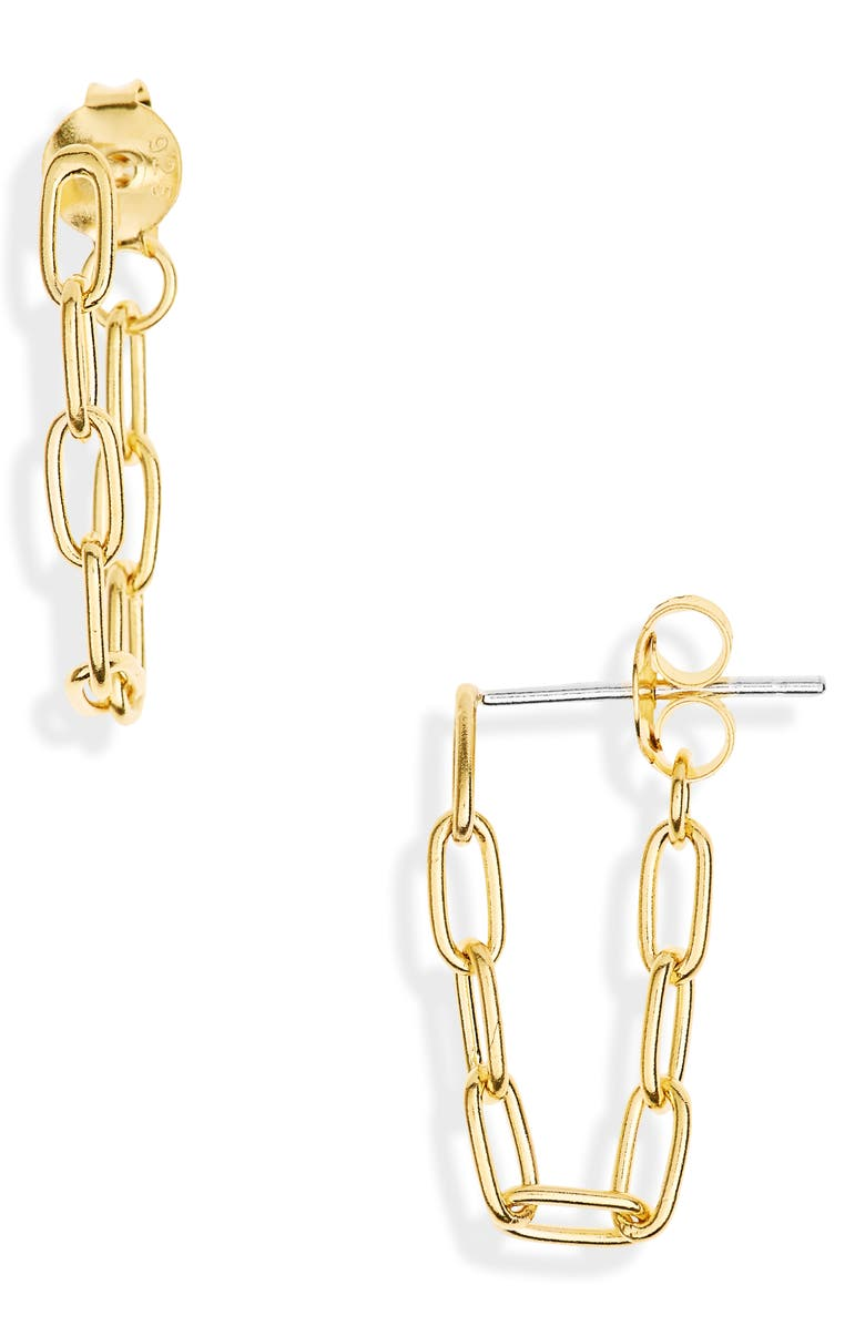 MADEWELL Celicate Collection Demi Fine Paperclip Chain Hoop Earrings, Main, color, 14K GOLD