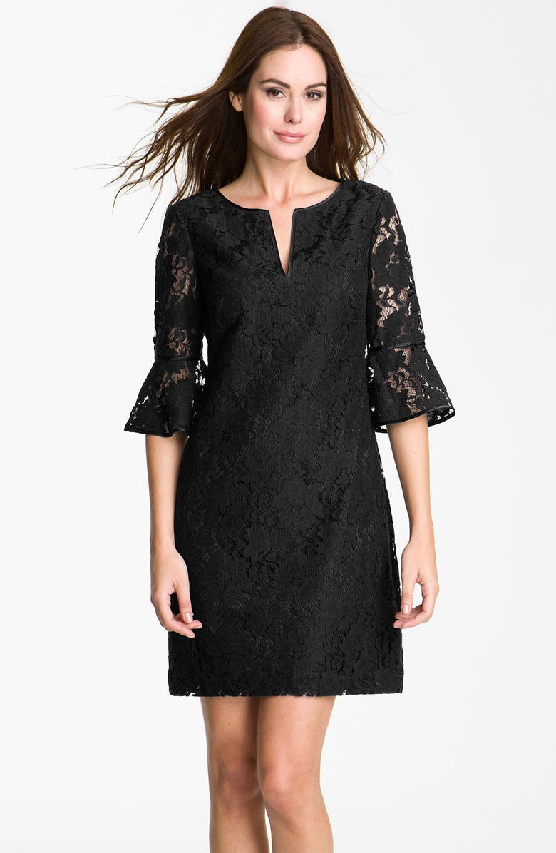 ADRIANNA PAPELL Ruffle Sleeve Lace Dress, Main, color, 001