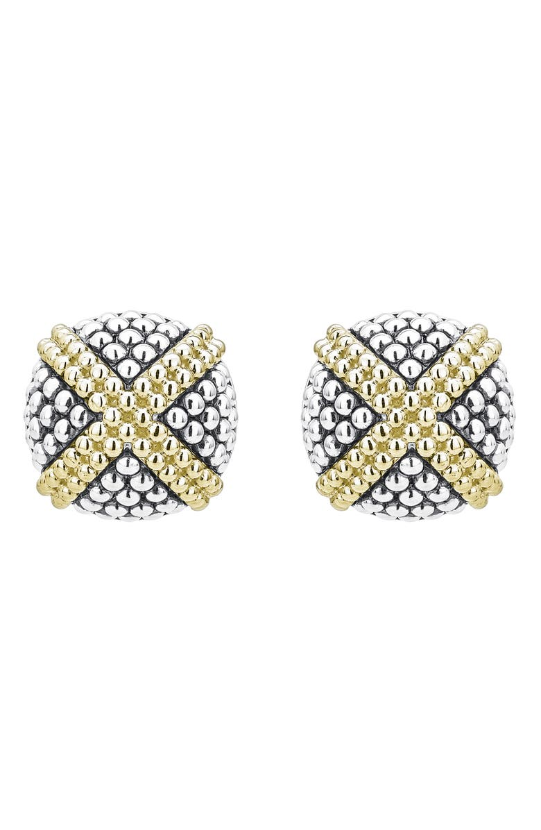 LAGOS Signature Caviar Large Domed 'X' Stud Earrings, Main, color, Silver
