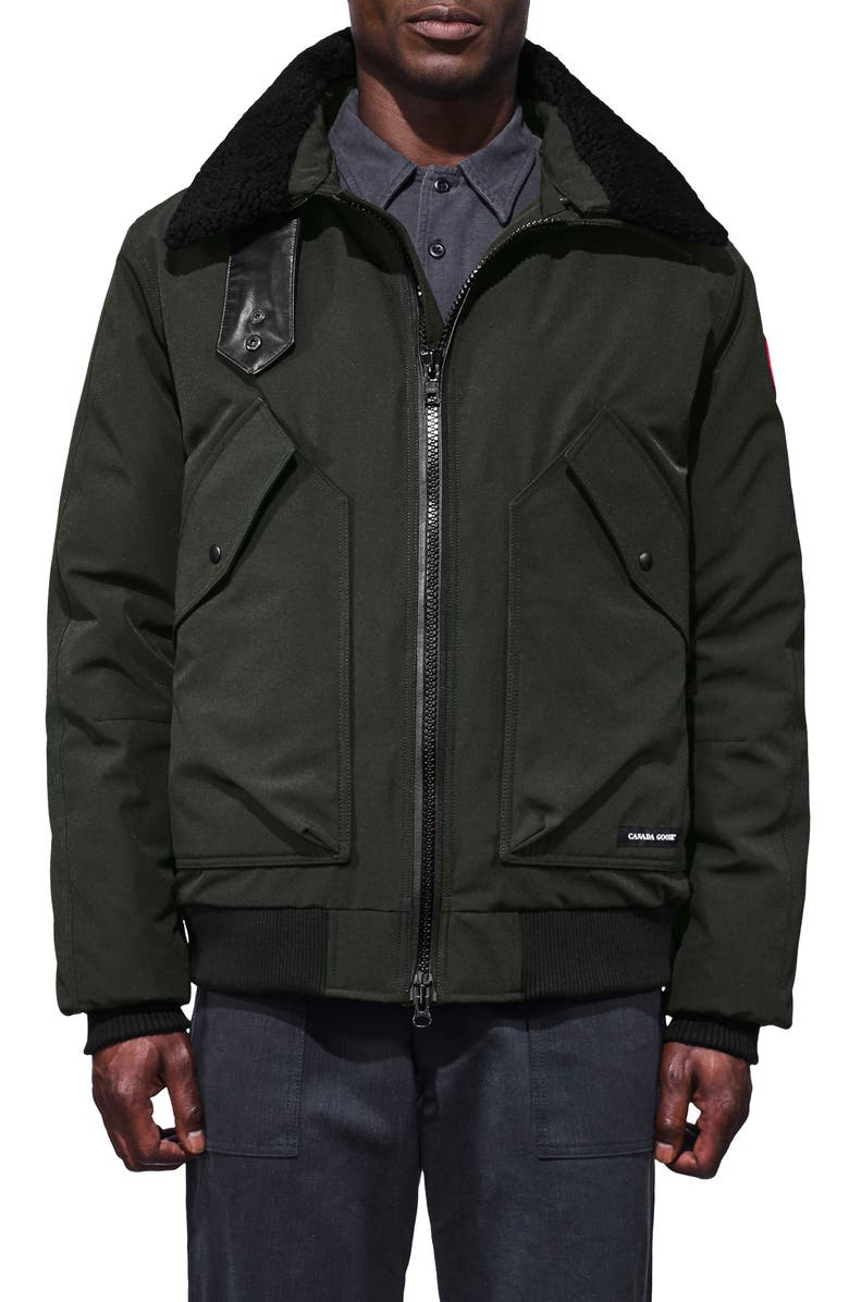CANADA GOOSE Bromley Slim Fit Down Bomber Jacket with Genuine Shearling Collar, Main, color, 021