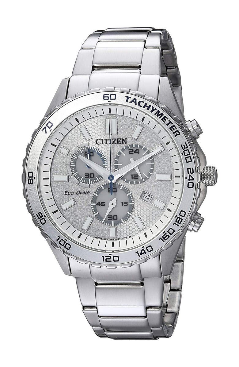 CITIZEN Men's Eco-Drive Sport Stainless Steel Watch, 43mm, Main, color, SILVER