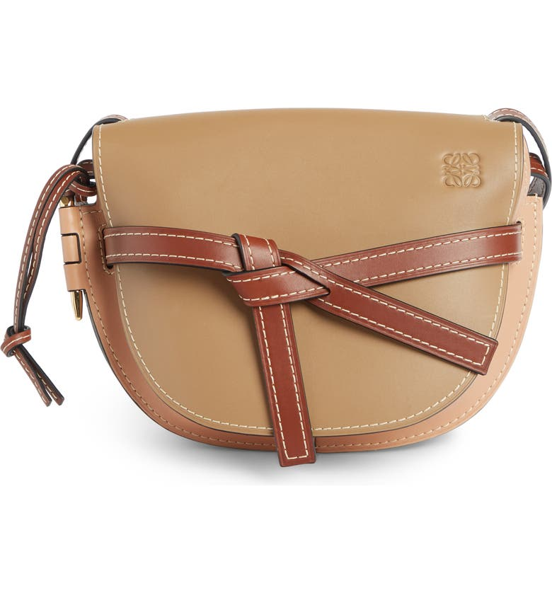 LOEWE Gate Small Leather Crossbody Bag, Main, color, MOCCA/ POWDER