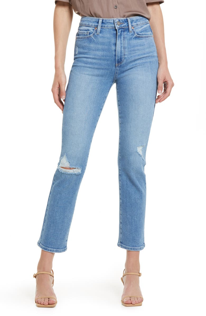 PAIGE Cindy Ripped Straight Leg Jeans, Main, color, SPEAK EASY DESTRUCTED