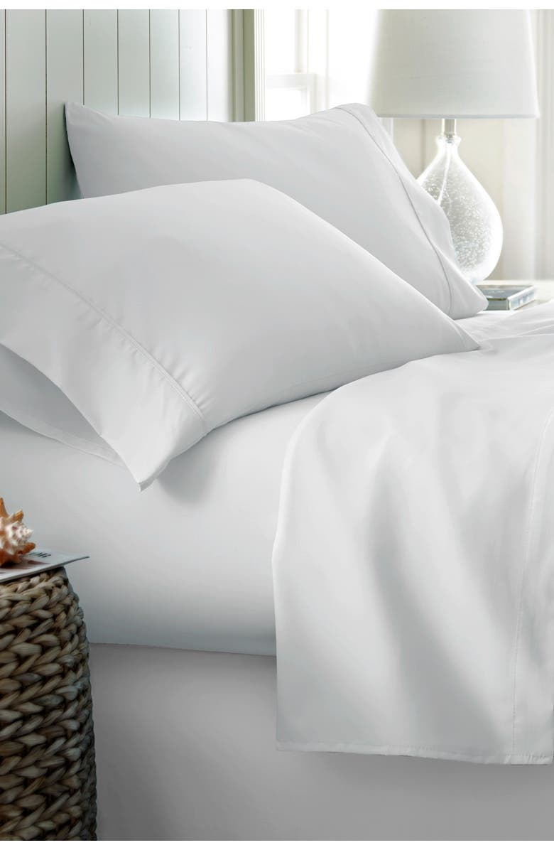 IENJOY HOME Home Spun California King Hotel Collection Premium Ultra Soft 4-Piece Bed Sheet Set - White, Main, color, WHITE