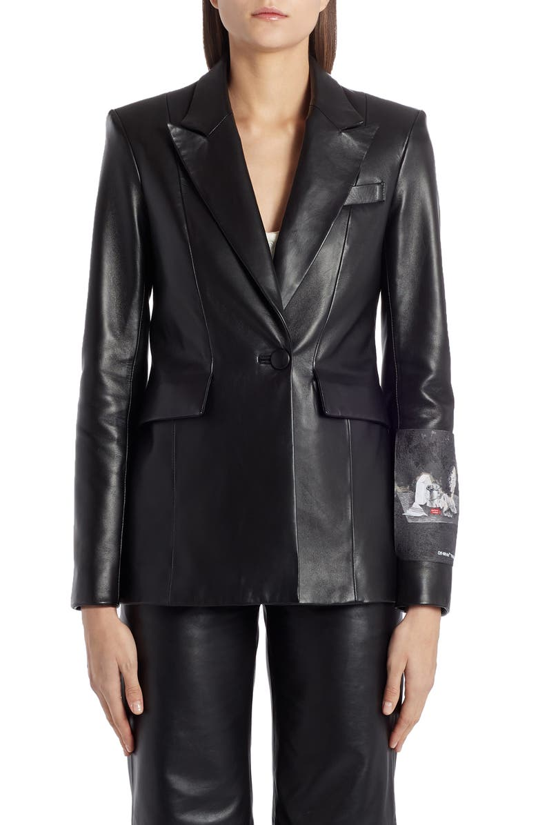 OFF-WHITE Painting Leather Blazer, Main, color, 001