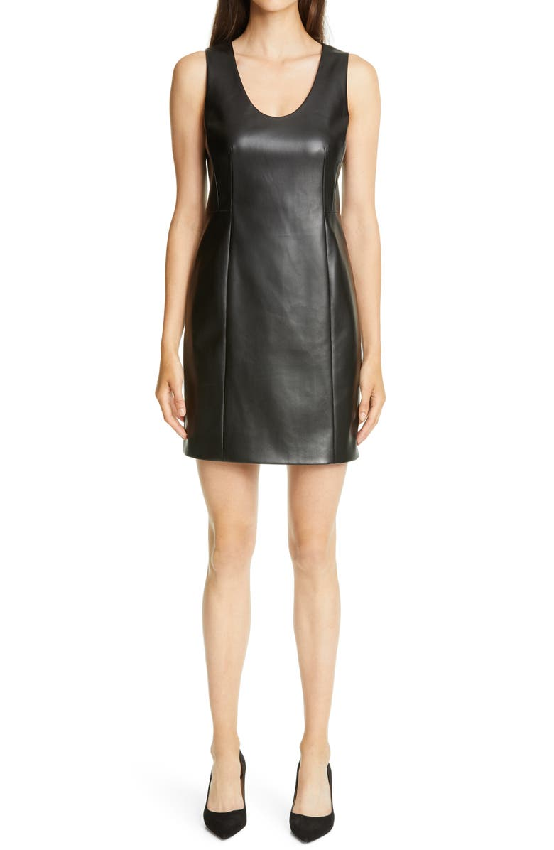 THEORY Sculpt U Sleeveless Faux Leather Minidress, Main, color, Black