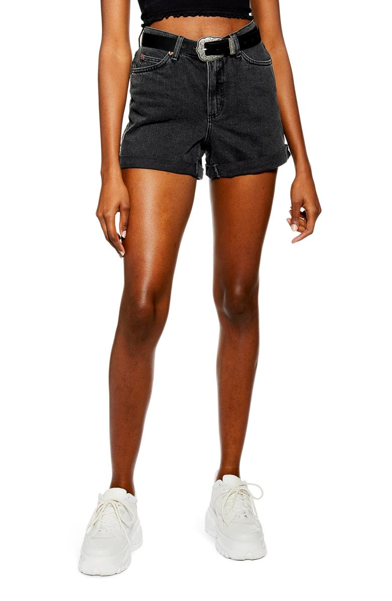 TOPSHOP Roll Hem Mom Denim Shorts, Main, color, 003