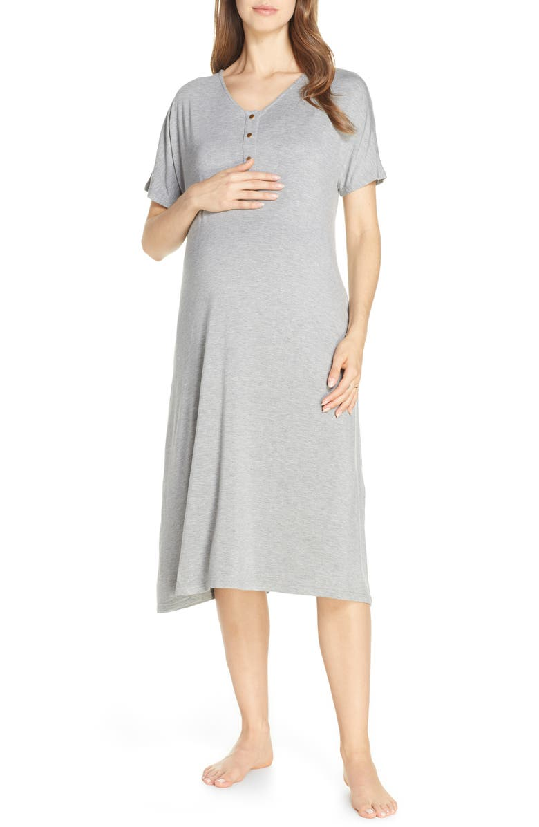 NESTING OLIVE Solid Maternity/Nursing Nightshirt, Main, color, SOLID- HEATHERED GRAY