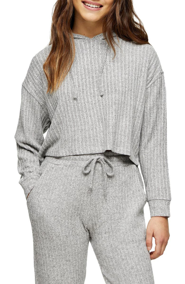 TOPSHOP Cozy Rib Brushed Crop Hoodie, Main, color, Grey