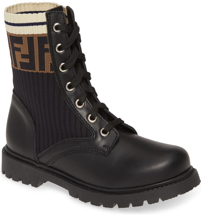 FENDI Lace-Up Boot, Main, color, 001