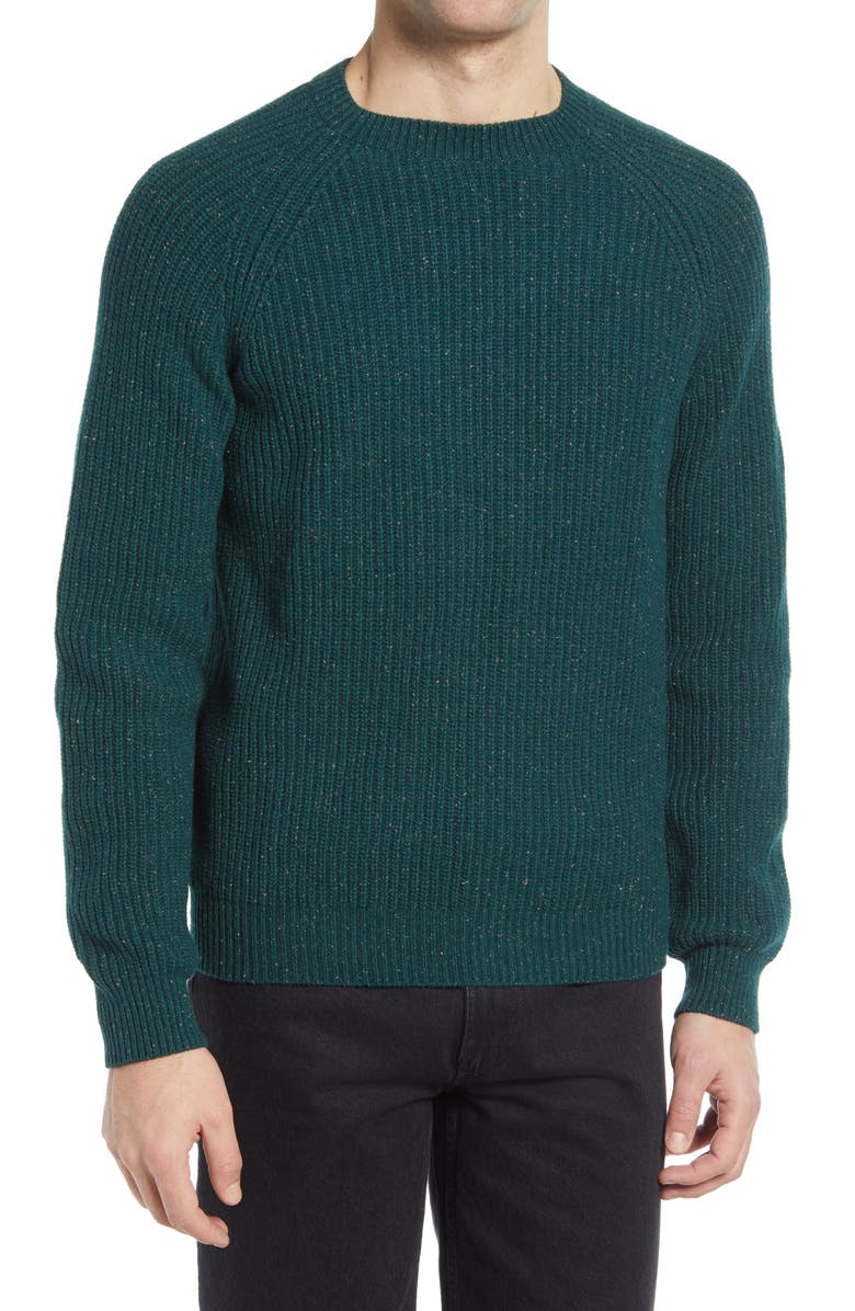 A.P.C. Men's Ludo Fisherman Sweater, Main, color, HEATHERED GREEN