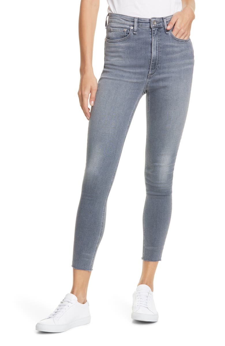RAG & BONE Jane Super High Waist Raw Hem Ankle Skinny Jeans, Main, color, 050