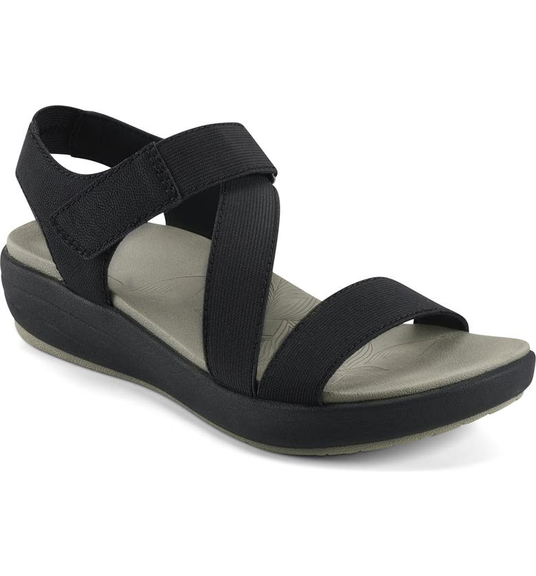 EARTH ORIGINS Genny Strappy Sandal, Main, color, BLACK FAUX LEATHER