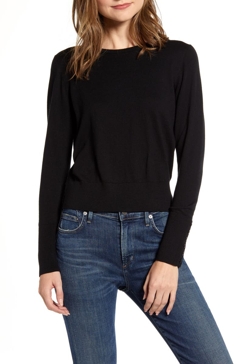 ALEX MILL Button Cuff Crewneck Sweater, Main, color, 001