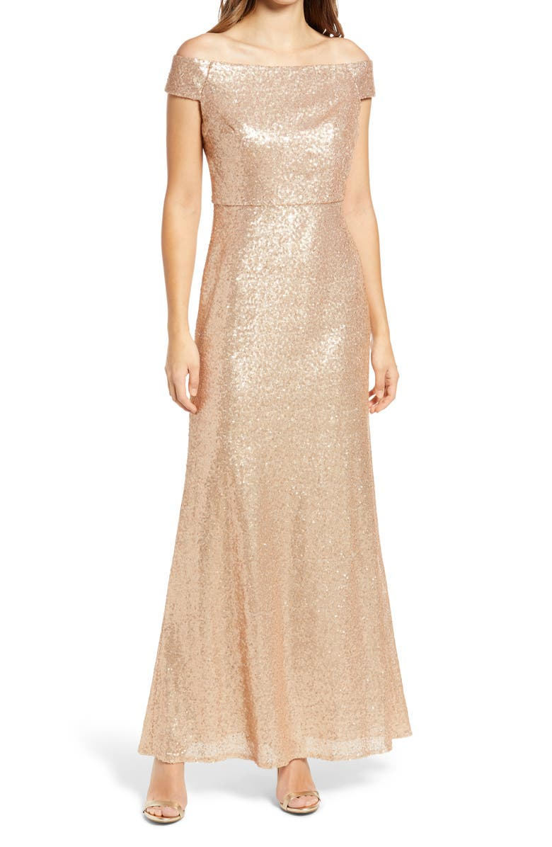 DESSY COLLECTION Sequin Off the Shoulder Gown, Main, color, ROSE GOLD