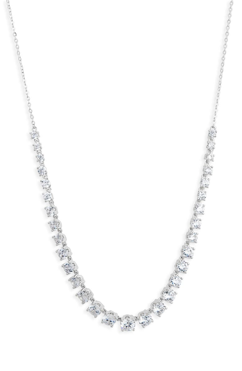 NORDSTROM Slider Tennis Necklace, Main, color, CLEAR- SILVER