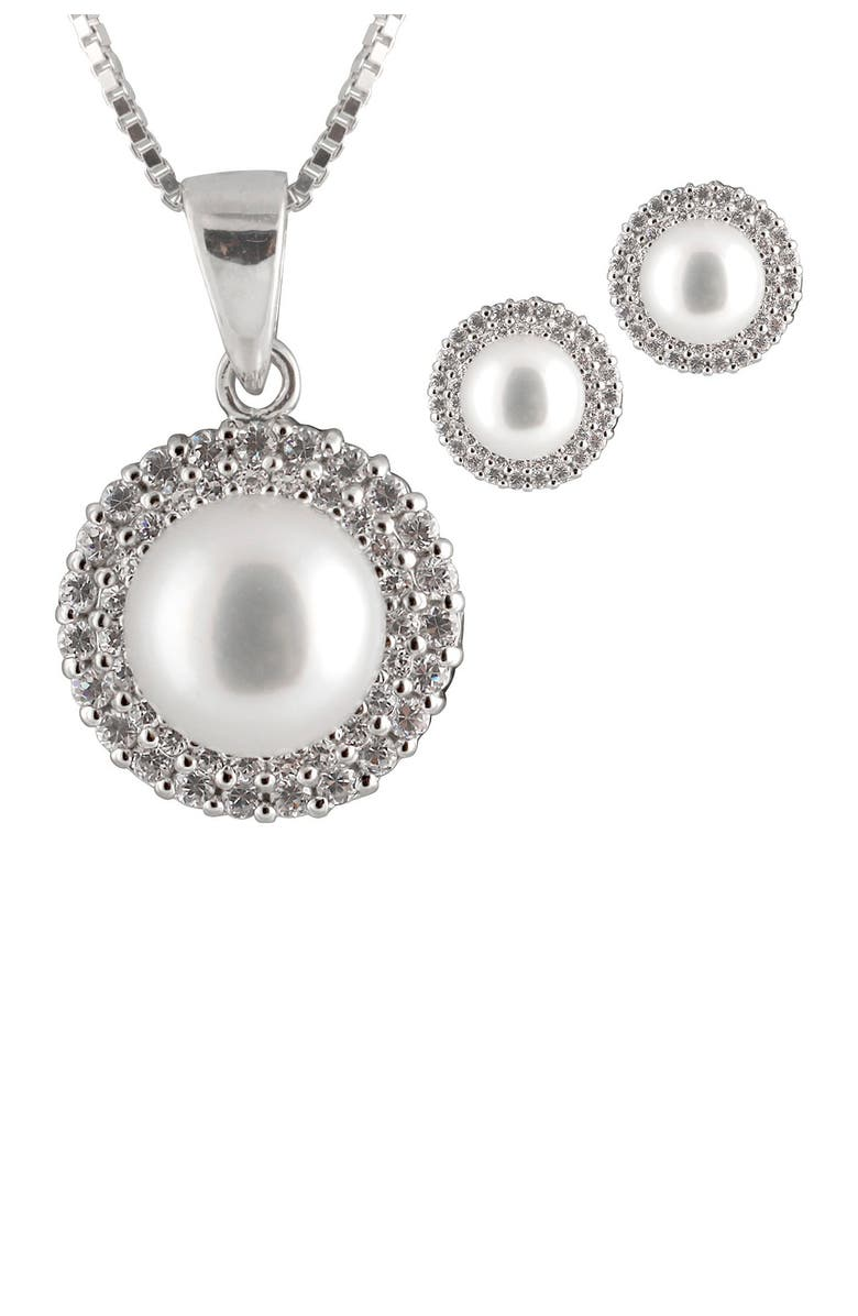 SPLENDID PEARLS 8-8.5mm Grey Freshwater Pearl & CZ Double Halo Pendant Necklace & Stud Earrings Set, Main, color, WHITE