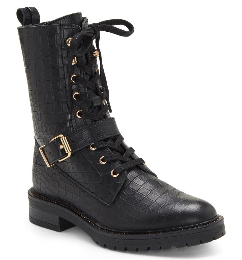 VINCE CAMUTO Dedianna Croc Embossed Leather Combat Boot, Main, color, BLACK