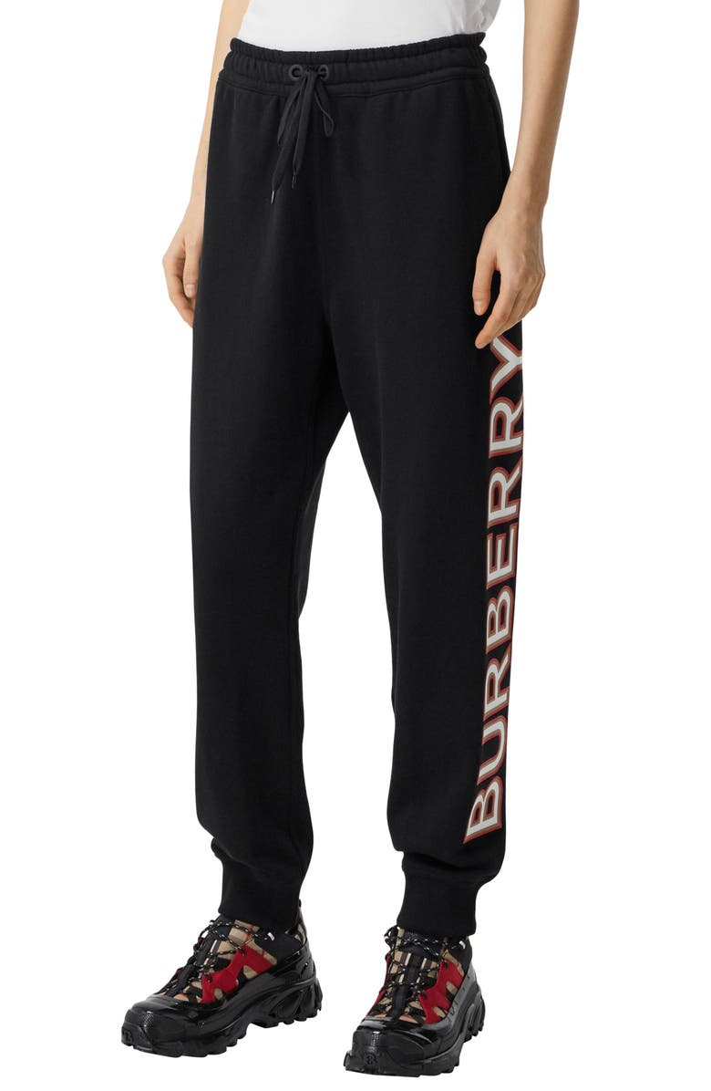 BURBERRY Esmee Logo French Terry Joggers, Main, color, BLACK