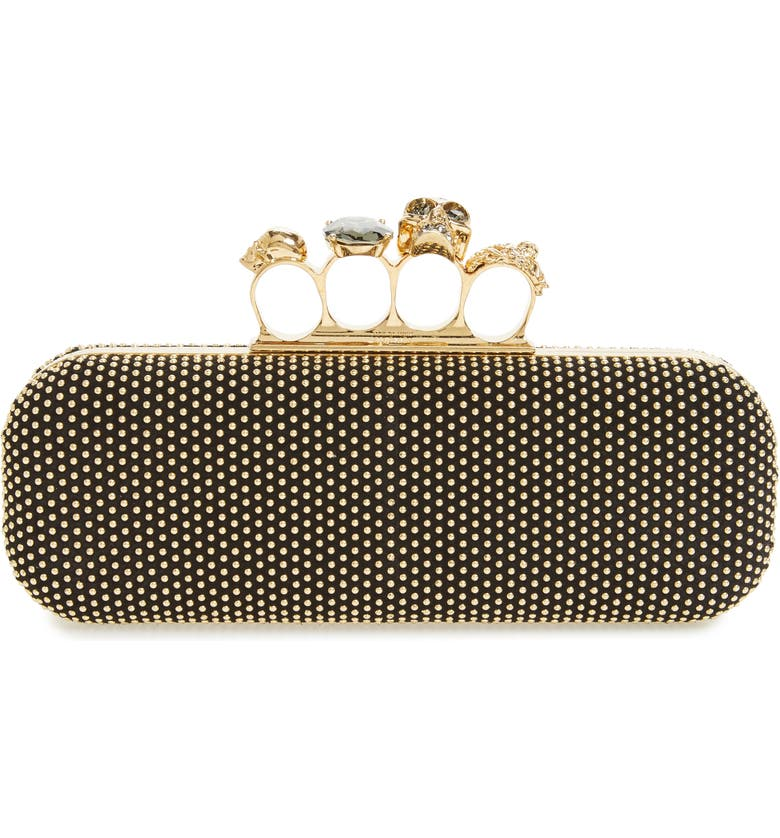 ALEXANDER MCQUEEN Knuckle Clasp Studded Box Clutch, Main, color, Black